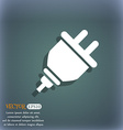 plug icon On the blue-green abstract background vector image