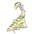 Young bride with umbrella vector image