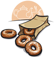 Sweet donuts with powder Vector Image