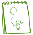 A notebook with a sketch of a young girl with a vector image vector image