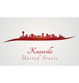 Knoxville skyline in red vector image