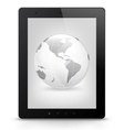 Tablet PC with world vector image vector image