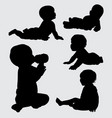 baby action silhouette vector image