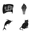 cat animal fur and other web icon in black style vector image