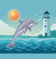 colorful poster seaside with dolphin jump and vector image