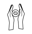 hand holds bill coin money line vector image