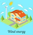 Low-energy house with wind turbine For web design vector image