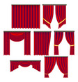 realistic detailed 3d red window curtains set vector image