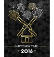 New Year 2016 netherlands windmill travel gold vector image vector image