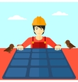 Constructor with solar panel vector image