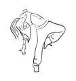 Hip-hop woman dancer contour sketch vector image