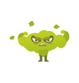broccoli hero superhero character guard vector image