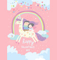 couple in love riding on unicorn vector image