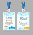 id card template plastic badge vector image