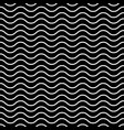 seamless wavy pattern white thin lines on black vector image