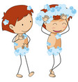 Two boys taking shower vector image