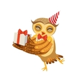 Owl And Birthday Present Cute Cartoon Character vector image