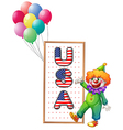 A clown beside the framed USA letters vector image