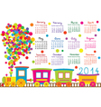 2014 calendar with cartoon trains vector image vector image
