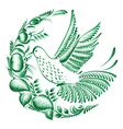 floral decorative circle colibri vector image