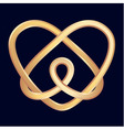 Golden celtic heart on dark blue background vector image