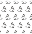 black line graphic rabbit regular seamless pattern vector image