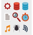 collection data server hosting elements vector image