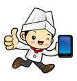 head chef character is holding a smartphone and vector image