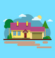 house with cloud tree road flat design urban vector image
