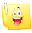 Yellow sticky note with smiling face vector image