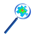 Magnifying glass analyzing the puzzle vector image vector image