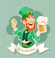 Cute Leprechaun with a beer - Poster vector image