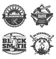 monochrome vintage blacksmith emblems set vector image