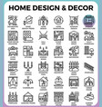 home design and decor icons vector image