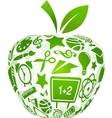 back to school apple with education icons vector image vector image