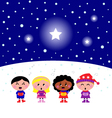 kids singing a christmas carol vector image vector image