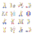 Rabbits playing with toys vector image