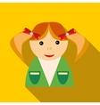 School girl in uniform icon flat style vector image