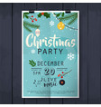 christmas party poster lettering on wood texture vector image