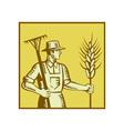 Farmer With Rake vector image