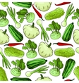 Fresh farm vegetables seamless background vector image
