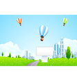 Green City Landscape with Hot Air Balloons vector image