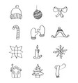 outlined icons decoration winter season vector image