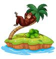 An island with a gorilla vector image vector image