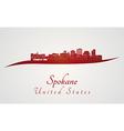 Spokane skyline in red vector image vector image