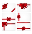 Gift Card with Red Bow and Ribbon Set vector image