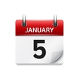 January 5 flat daily calendar icon Date vector image