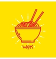 Wok noodles on plate graphic vector image
