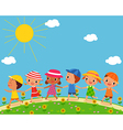 children walk on a beautiful summer day vector image