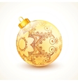 Ornate vintage golden isolated Christmas ball vector image